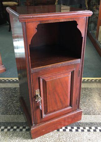 Victorian mahogany besdside cabinet, shelf & cupboard, c. 1890 -0