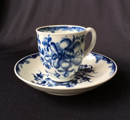 Worcester Mansfield pattern coffee cup & saucer, C. 1770 -0