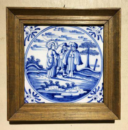 Dutch Delft Tinglaze blue & white tile, Biblical Scene, Circa 1700.-0