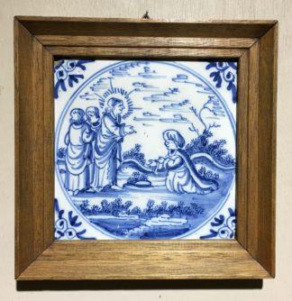 Dutch Delft Tinglazed blue & white tile, religious scene, Circa 1700-0