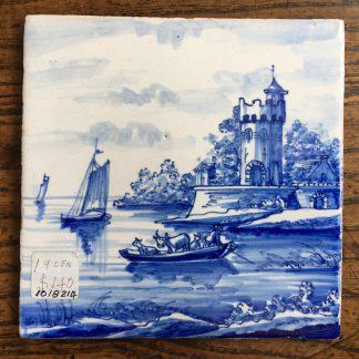 Dutch Delft Tinglaze blue & white tile, coastal scene, circa 1900.-0