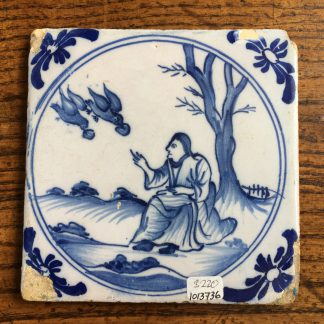 English delft tile, Elijah and the ravens, 18th century -0
