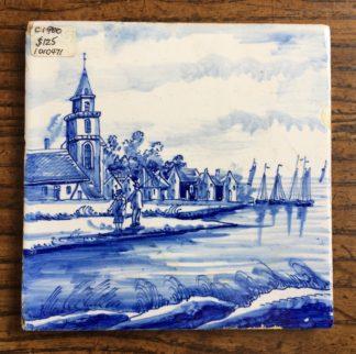 Delft tile, coastal scene, circa 1900.-0