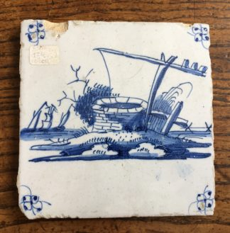 Dutch Delft tile - a well, C. 1700 -0