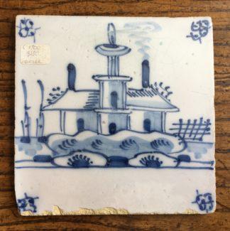 Dutch Delft tile - house & boats, c. 1700 -0