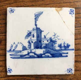 Dutch Delft tile - house, C. 1700 -0