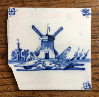 Dutch Delft tile - a windmill, C. 1700-0