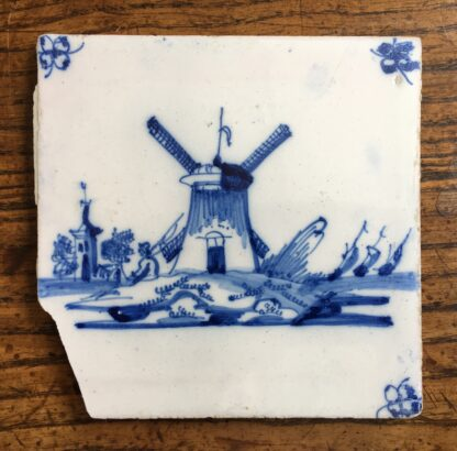 Dutch Delft tile - a windmill, C. 1700-0