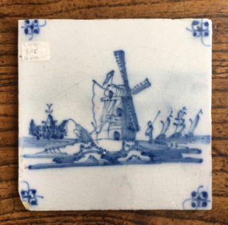 Dutch Delft tile- windmill, C. 1700 -0
