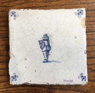 Dutch Delft tile, figure reading a book, c. 1700 -0
