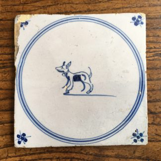 Dutch Delft tile , dog with collar, c. 1700 -0