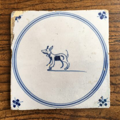 Dutch Delft tile , dog with collar, c. 1700 -0