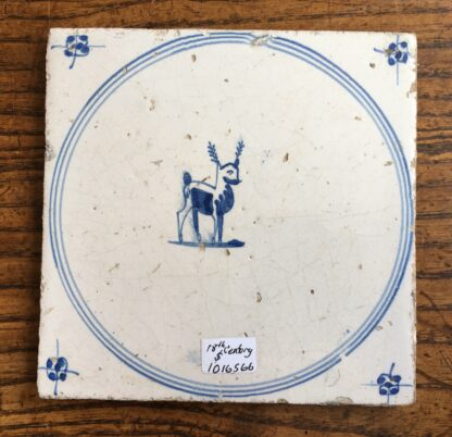 Dutch Delft tile, deer, 17th century. -0
