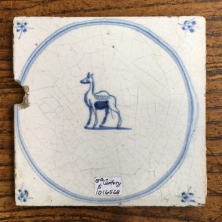 Dutch Delft glazed tile, camel, 17th century. -0