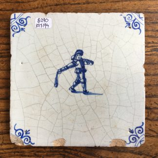 Dutch Delft tile, man playing a game , c. 1700 -0