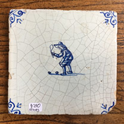 Dutch Delft tile, man playing a game, c. 1700 -0