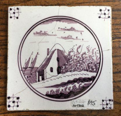 Delft Manganese tile - coastal scene, 18th century -0