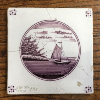 Dutch Delft Manganese tile, fishing boat, 18th century -0