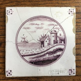 Dutch Delft Manganese tile, windmill, 18th century -0