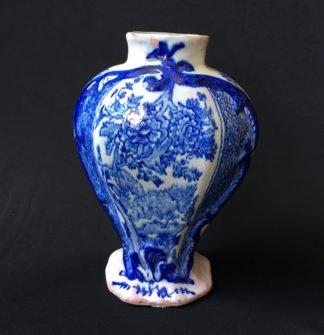 Dutch Delft baluster vase, oriental flowers, c.1800-0