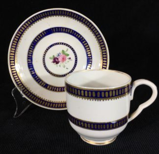Bloor Derby cup & saucer with flowers in blue border, c.1830-0