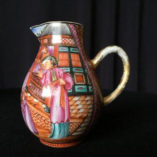 Chinese export milk jug with family scene, intense orange ground, c.1785 -0