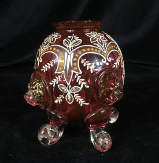 Victorian ruby glass vase , lions heads & enamels, Moser? c. 1880 -0