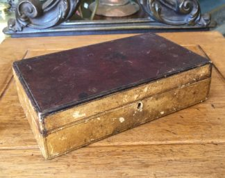 Small fitted leather bound box, mirror in lid, c. 1830-0