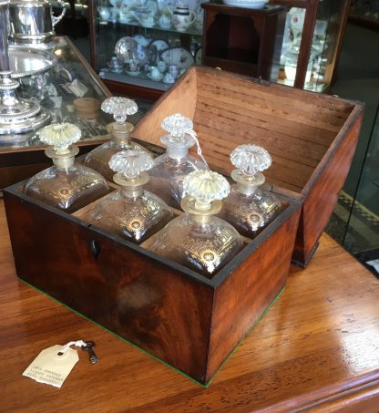 Georgian drum top mahogany decanter box, with 6 gilded decanters, c.1790 -0