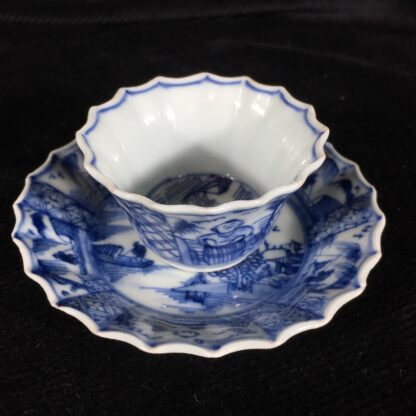 Chinese fluted teabowl & saucer, figures & flowers, c. 1720-20203