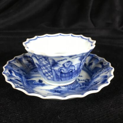 Chinese fluted teabowl & saucer, figures & flowers, c. 1720-0