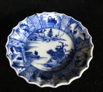 Chinese fluted teabowl & saucer, figures & flowers, c. 1720-20200