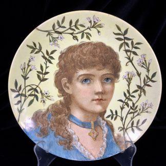 Minton Pre-Raphaelite plaque, portrait of 'Barbara', 1880-0