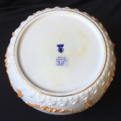 Victorian pottery salad bowl, plated rim, Taylor Tunnicliffe & Co. 1875-96-20312