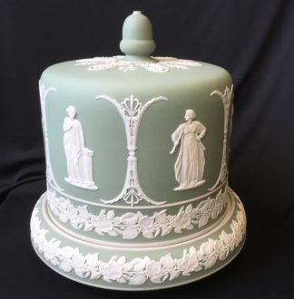 Jasperware Cheese Dome with applied classical figures, probably Dudson, c.1870-0
