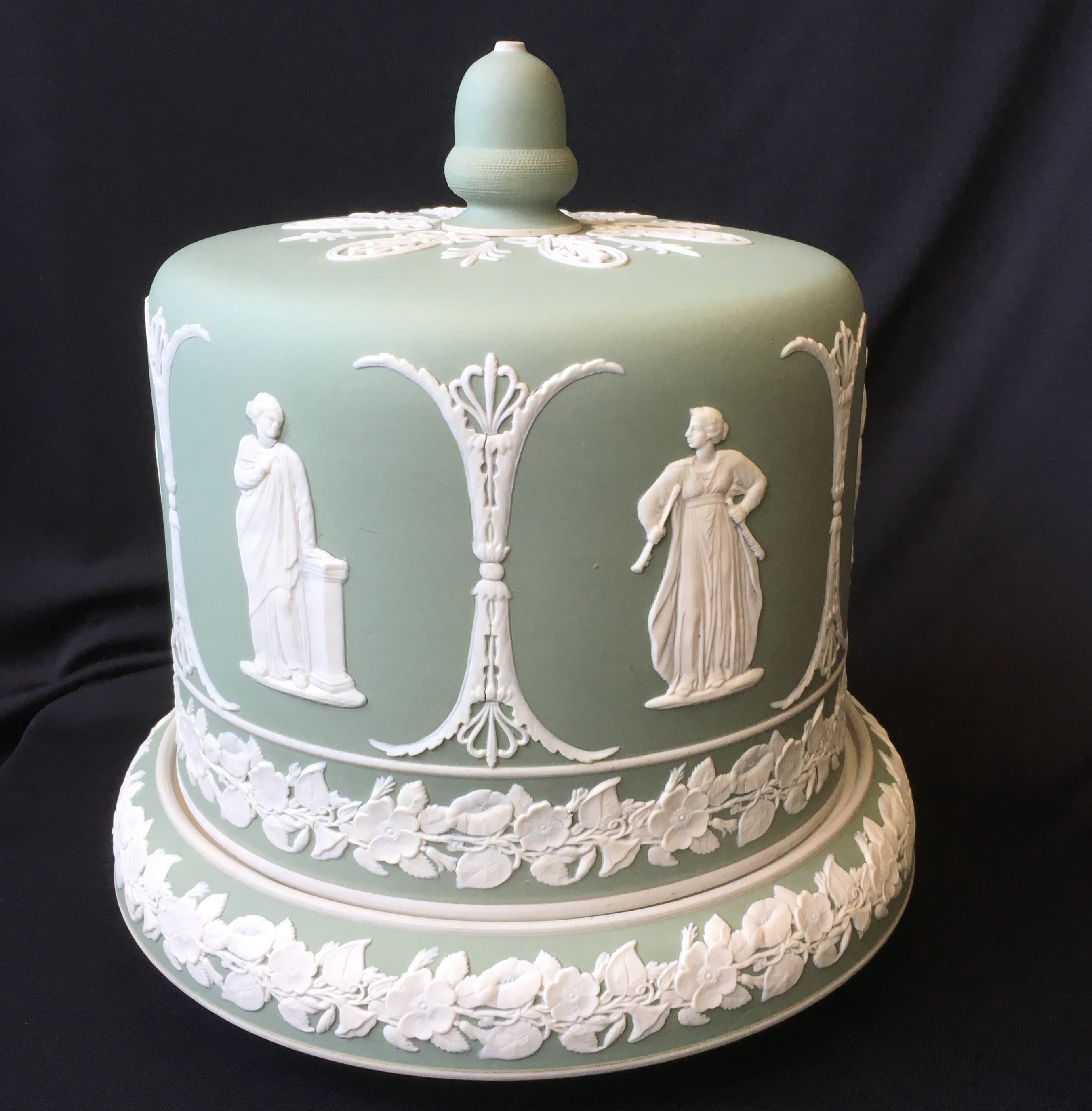 Jasperware Cheese Dome with applied classical figures, probably ...