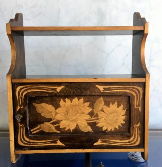 Arts & Crafts hanging wall cupboard, sunflower penwork, c. 1890 -0
