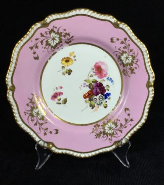 Daniel plate with pink ground, flowers, pattern 3912, c.1822-0