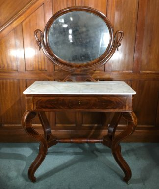 Danish Mahogany dressing table, oval mirror with swan head supports, c. 1815-0