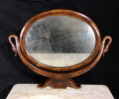 Danish Mahogany dressing table, oval mirror with swan head supports, c. 1815-19689