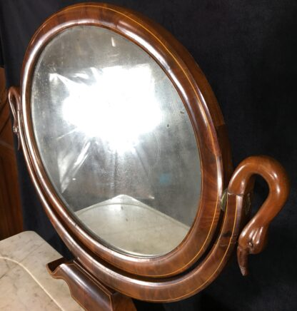 Danish Mahogany dressing table, oval mirror with swan head supports, c. 1815-19694