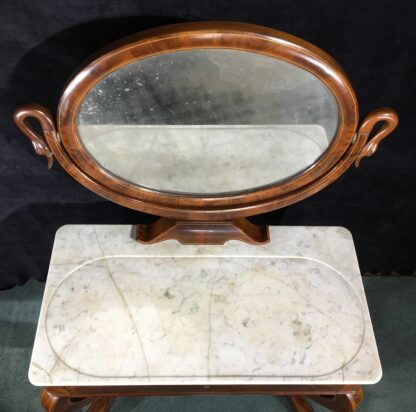 Danish Mahogany dressing table, oval mirror with swan head supports, c. 1815-19693
