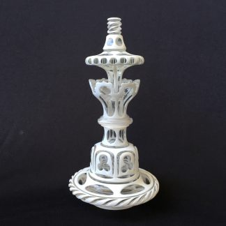 Victorian white overlaid glass perfume decanter, Gothic style, c.1850.-0