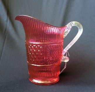 Victorian Ruby glass moulded jug, C.1890-0