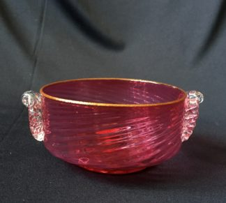 Victorian Ruby moulded bowl with clear handles. C.1885-0