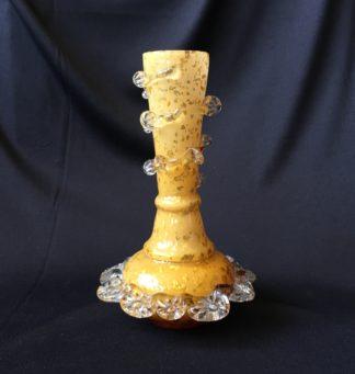 Victorian specimen vase, yellow with gold flakes, c.1880-0