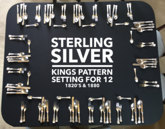 Kings Pattern Sterling Silver setting for 12, 1820's and 1880-0