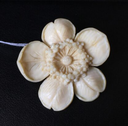 Ivory 'Wild Rose' flower brooch, late 19th century -21049