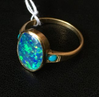 Opal Doublet & turquoise gold ring, 15 carat, 'Dumbbells' maker later 19th century -0