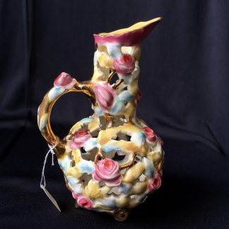 Zsolnay porcelain pierced jug decorated with roses, 20th century-0